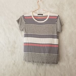 Brandy Melville Cropped Striped T-Shirt